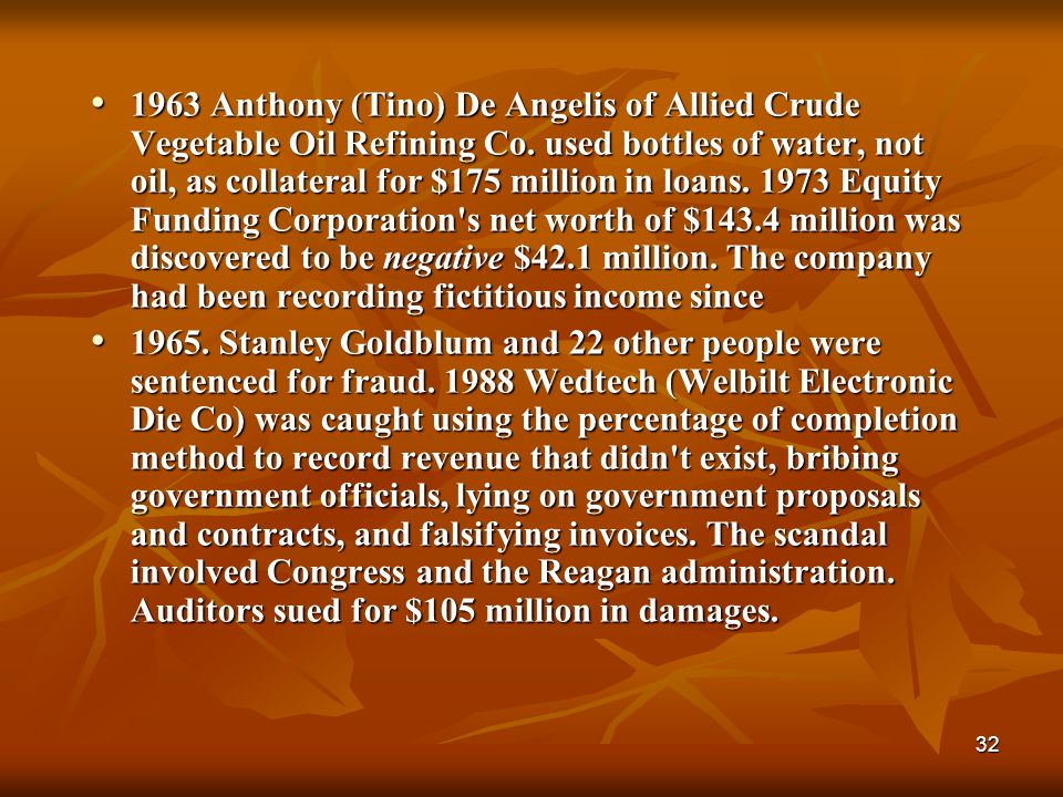 1963 Anthony (Tino) De Angelis of Allied Crude Vegetable Oil Refining Co. used bottles of water, not oil, as collateral for $175 million in loans. 1973 Equity Funding Corporation s net worth of $143.4 million was discovered to be negative $42.1 million. The company had been recording fictitious income since