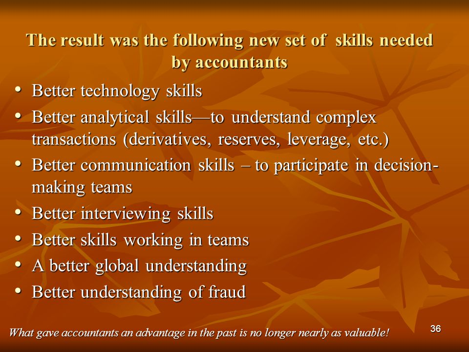 The result was the following new set of skills needed by accountants
