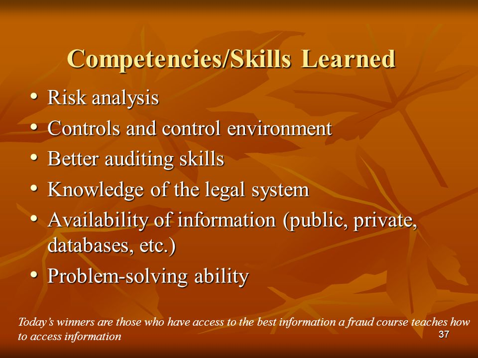 Competencies/Skills Learned
