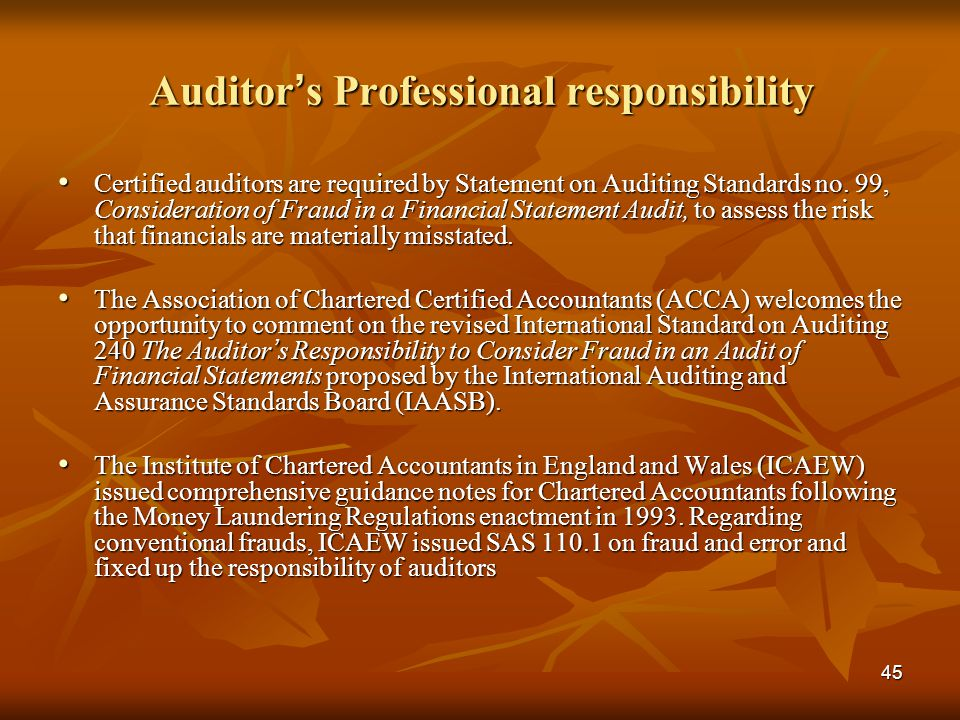 Auditor's Professional responsibility