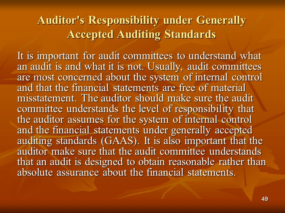 Auditor s Responsibility under Generally Accepted Auditing Standards