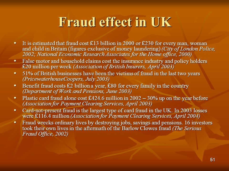 Fraud effect in UK