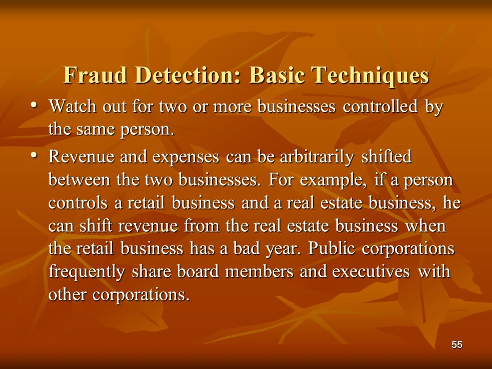 Fraud Detection: Basic Techniques