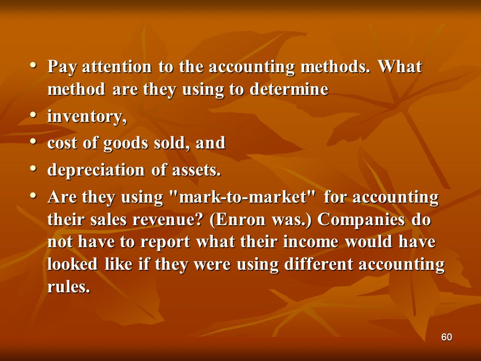 Pay attention to the accounting methods