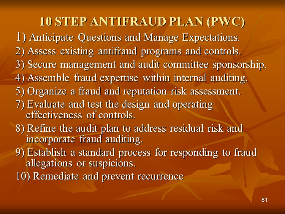 10 STEP ANTIFRAUD PLAN (PWC)