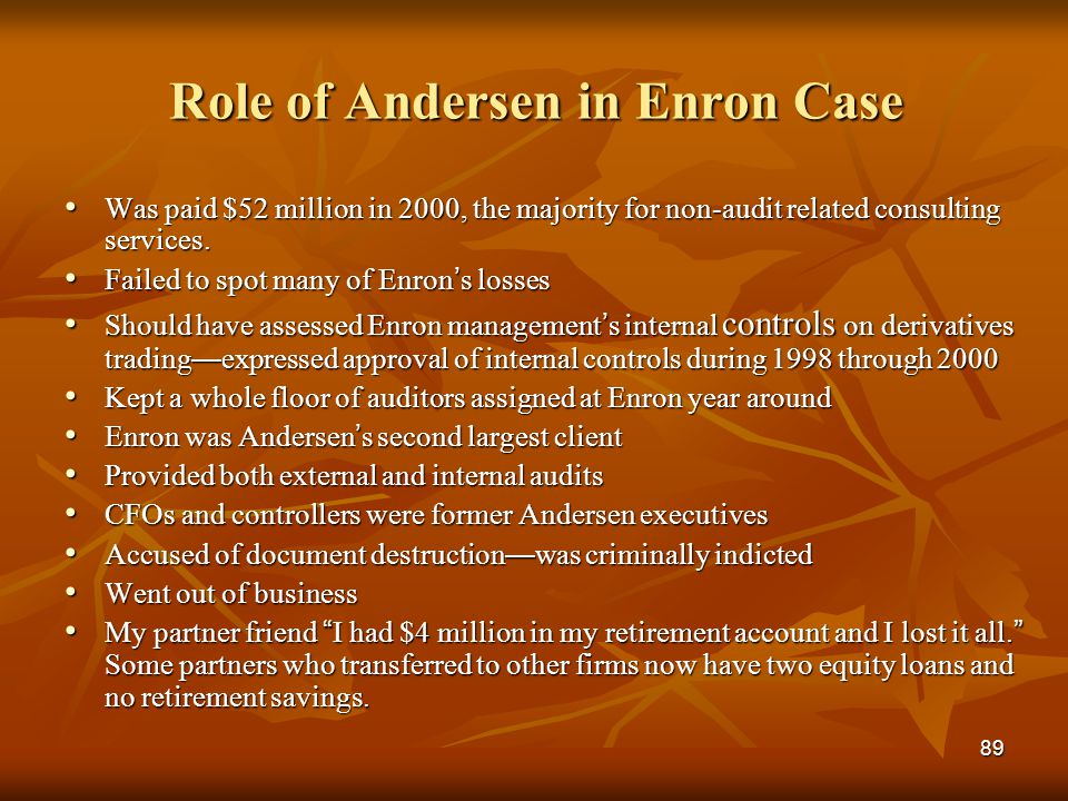 Role of Andersen in Enron Case