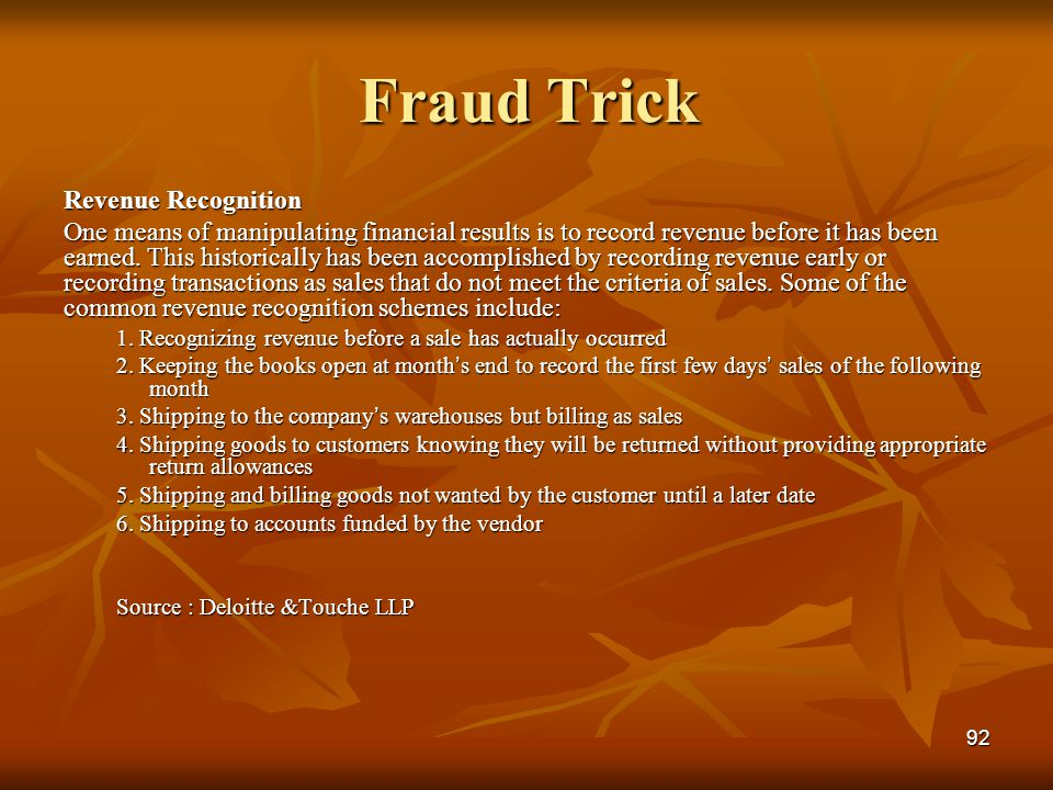 Fraud Trick Revenue Recognition