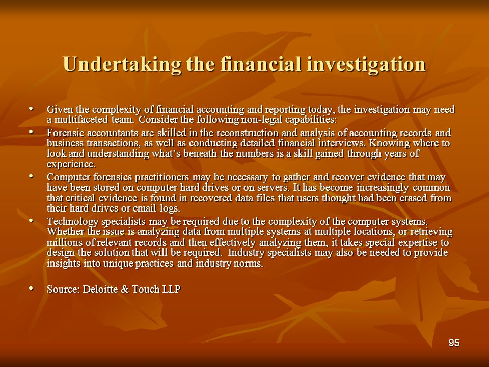 Undertaking the financial investigation