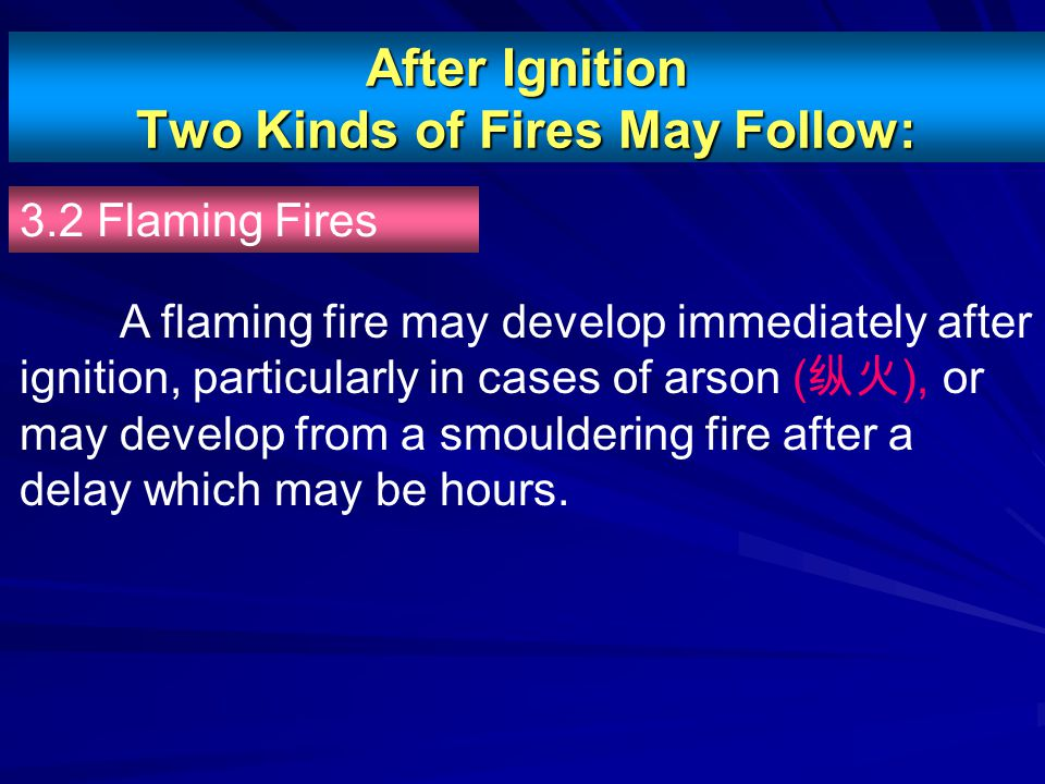 After Ignition Two Kinds of Fires May Follow: