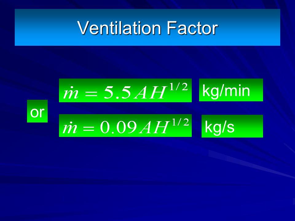 Ventilation Factor kg/min or kg/s