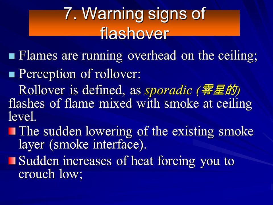 7. Warning signs of flashover