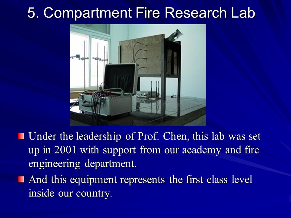 5. Compartment Fire Research Lab