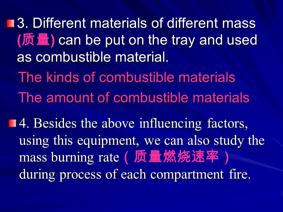 3. Different materials of different mass (质量) can be put on the tray and used as combustible material.