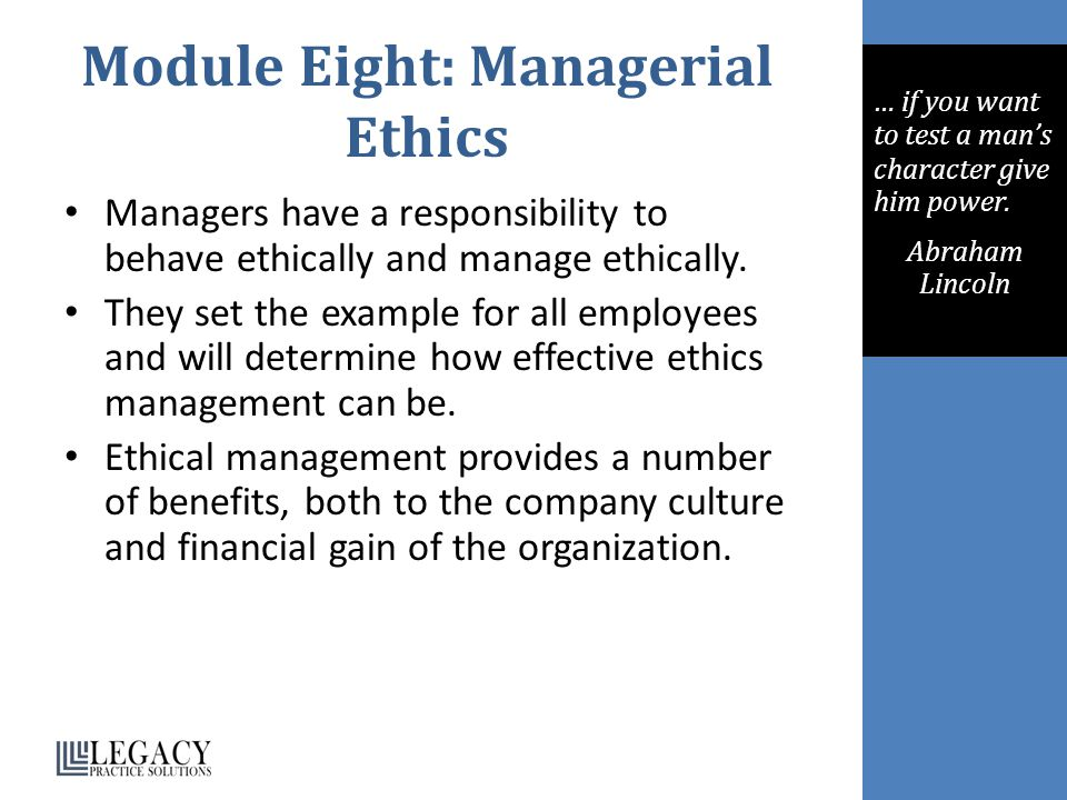 Module Eight: Managerial Ethics