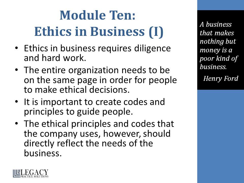 Module Ten: Ethics in Business (I)