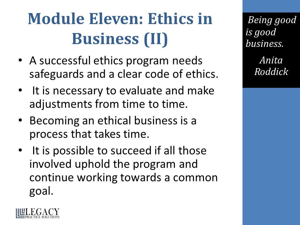 Module Eleven: Ethics in Business (II)
