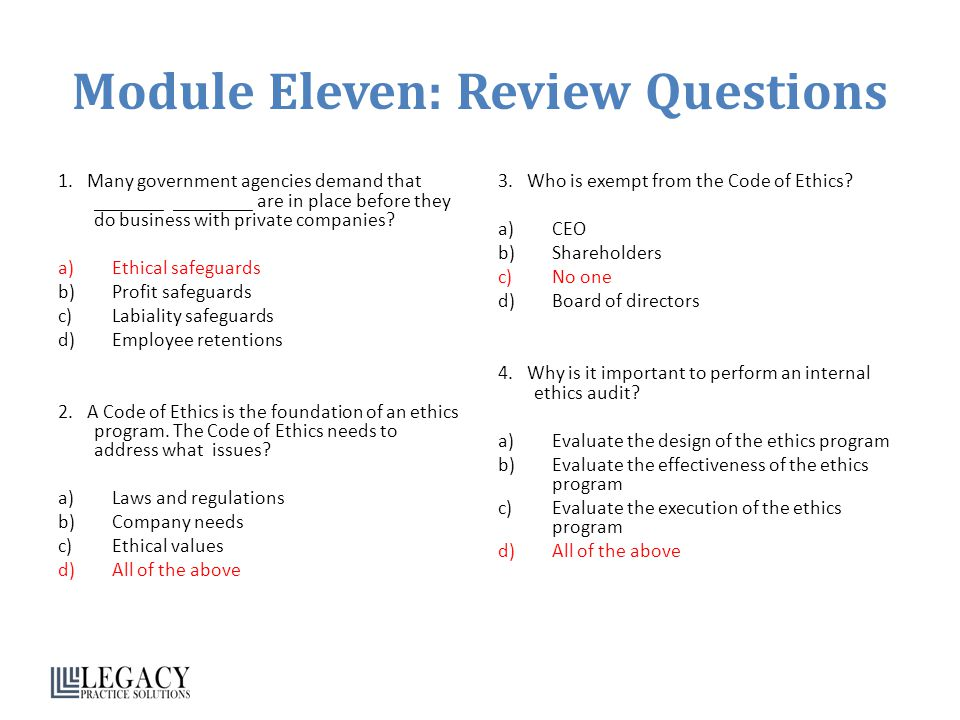 Module Eleven: Review Questions