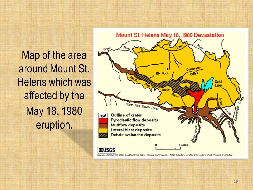Map of the area around Mount St. Helens which was affected by the