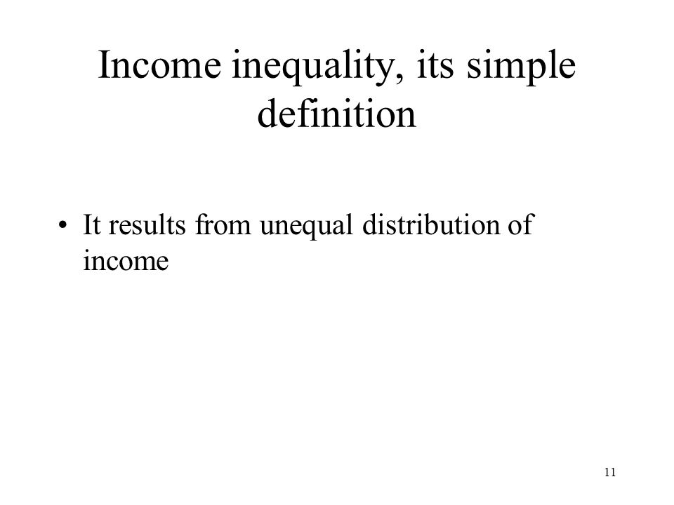 Income inequality, its simple definition