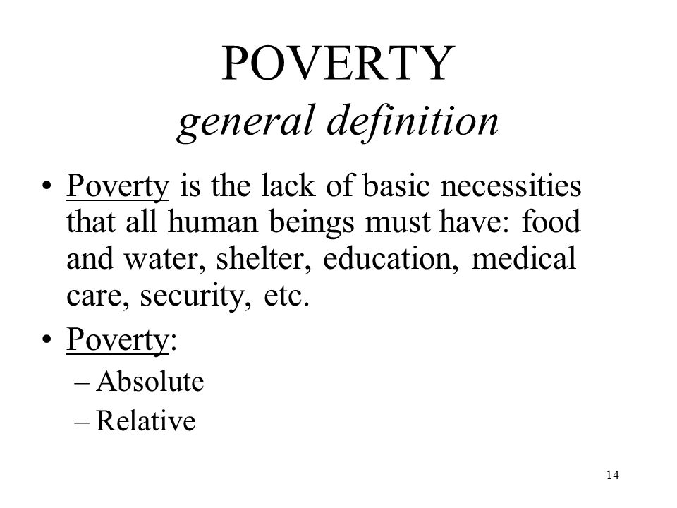 POVERTY general definition