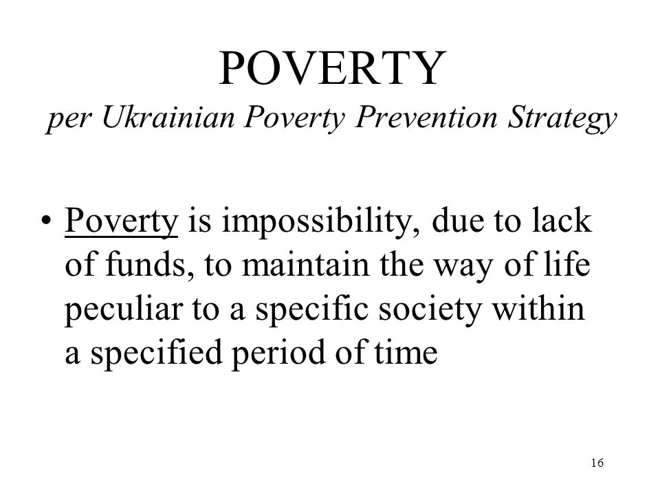 POVERTY per Ukrainian Poverty Prevention Strategy