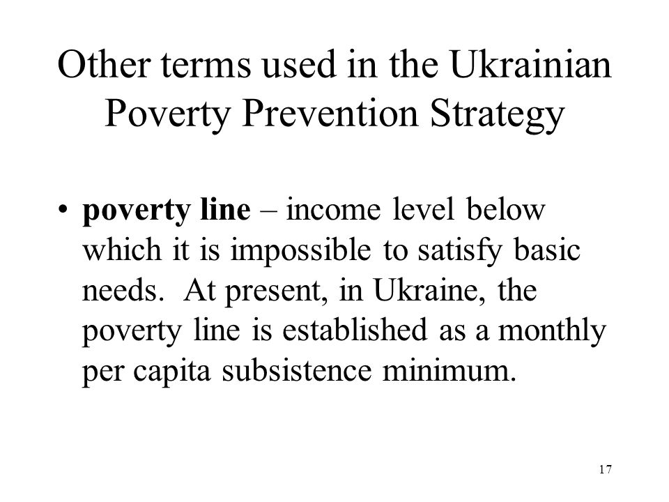 Other terms used in the Ukrainian Poverty Prevention Strategy