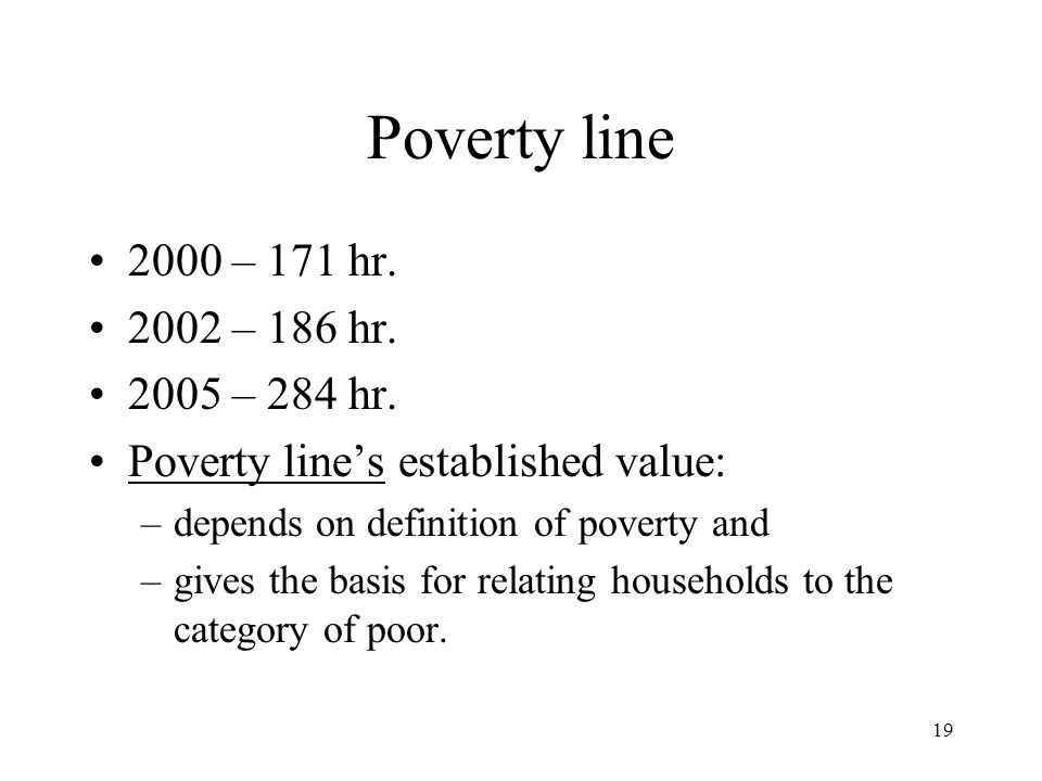 Poverty line 2000 – 171 hr. 2002 – 186 hr. 2005 – 284 hr.