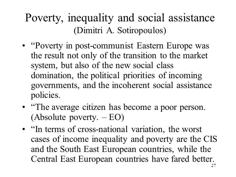 Poverty, inequality and social assistance (Dimitri A. Sotiropoulos)