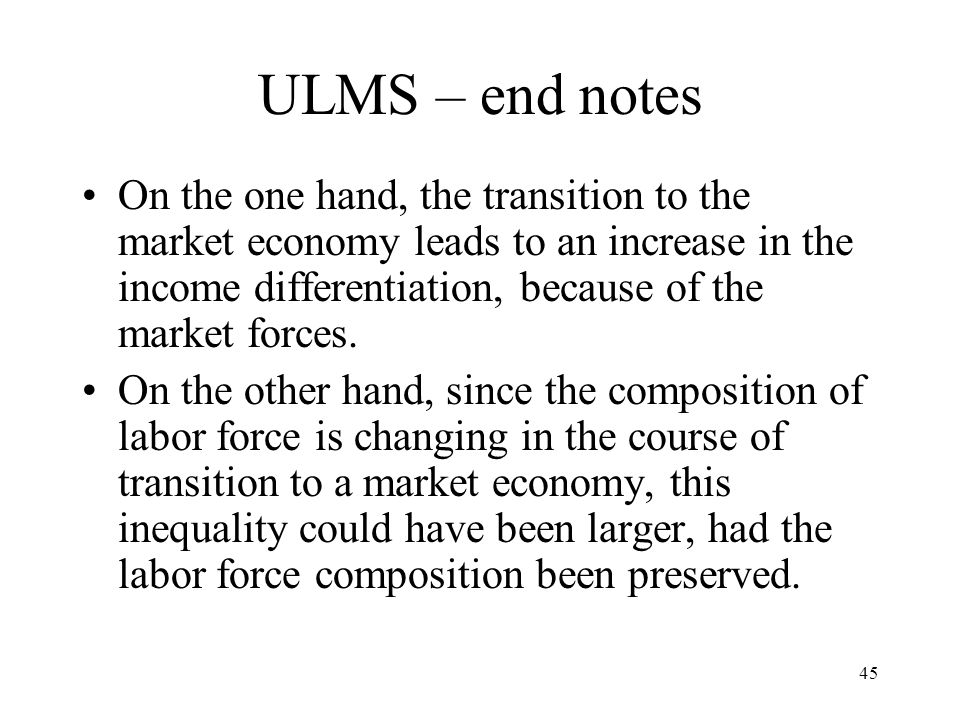 ULMS – end notes