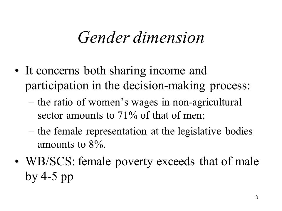 Gender dimension It concerns both sharing income and participation in the decision-making process: