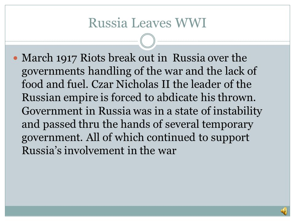 Russia Leaves WWI