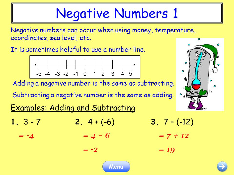 Negative Numbers 1 Negative Numbers 1 Examples: Adding and Subtracting