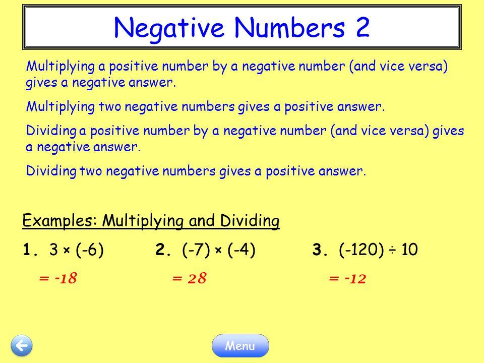 Negative Numbers 2 Negative Numbers 2