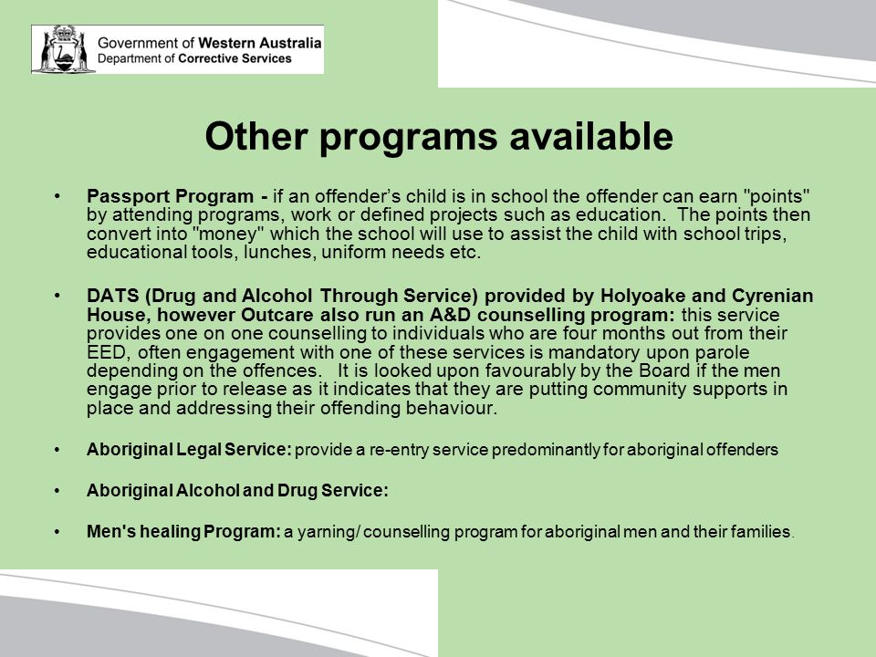 Other programs available