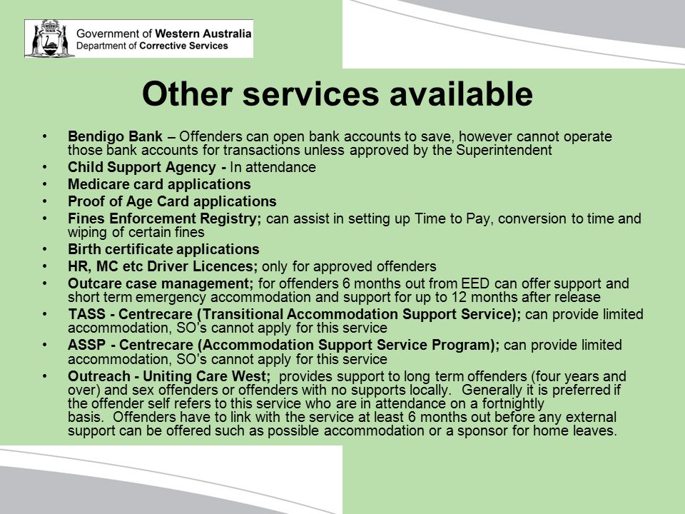 Other services available