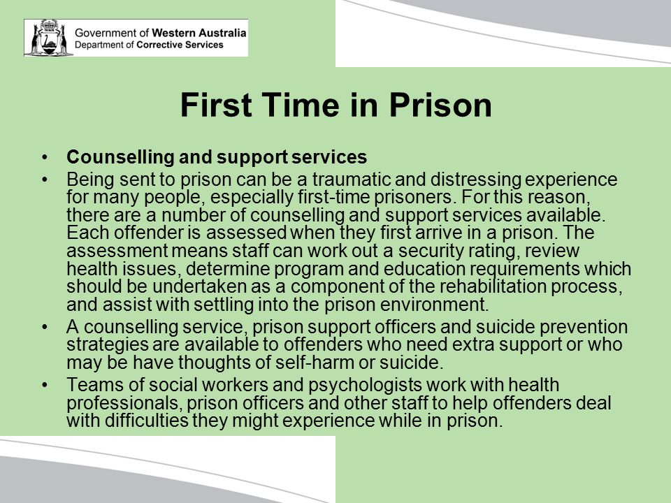 First Time in Prison Counselling and support services