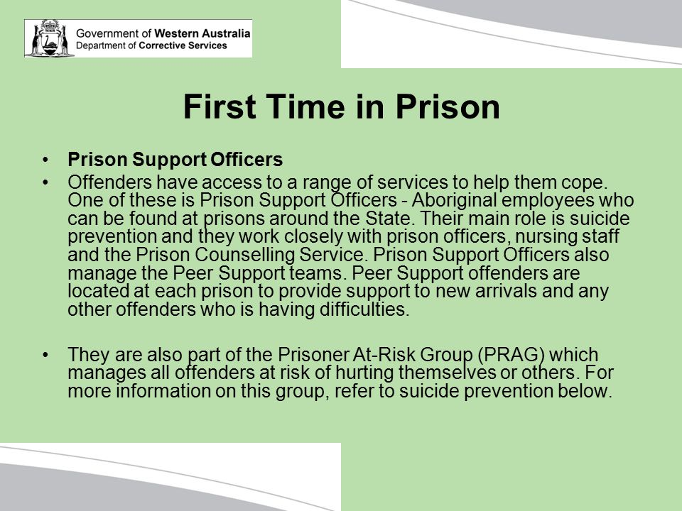 First Time in Prison Prison Support Officers