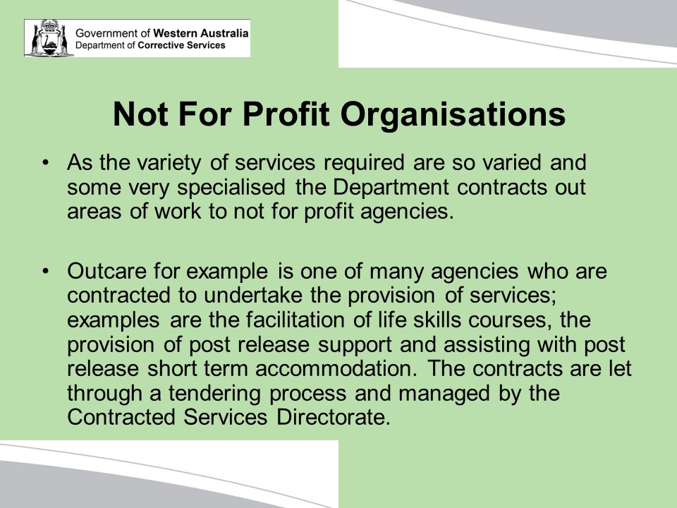 Not For Profit Organisations