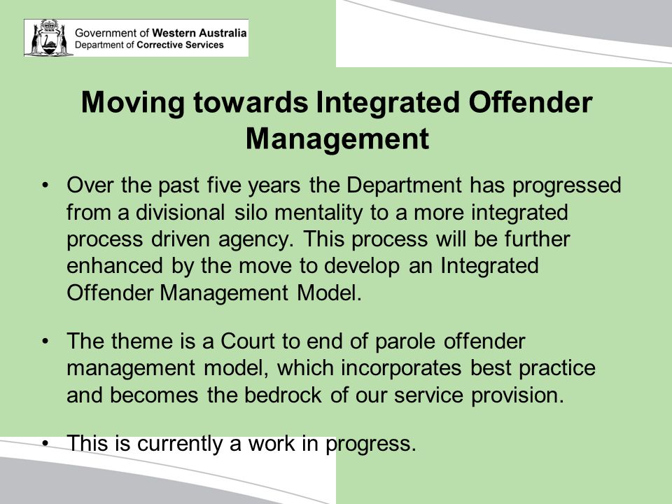 Moving towards Integrated Offender Management
