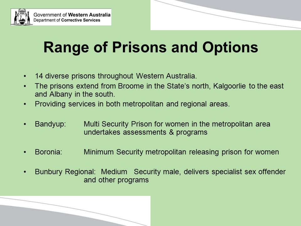Range of Prisons and Options