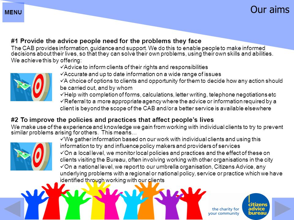 Our aims #1 Provide the advice people need for the problems they face