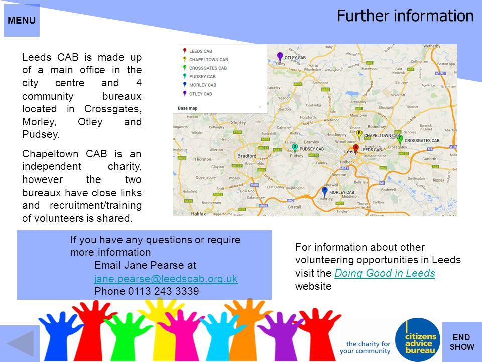MENU Further information.