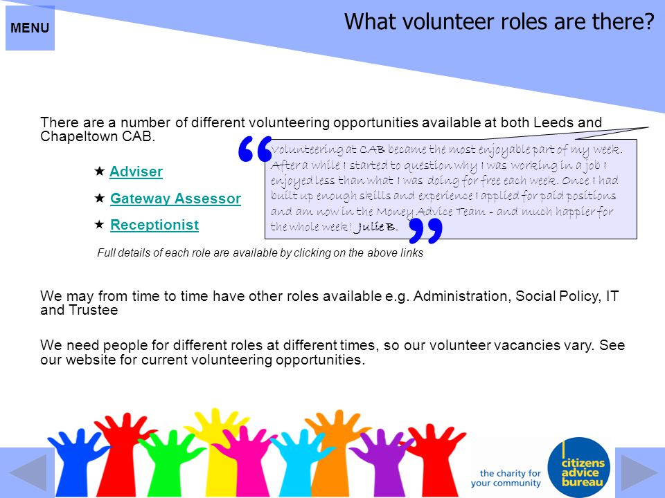 What volunteer roles are there