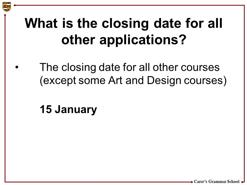 What is the closing date for all other applications