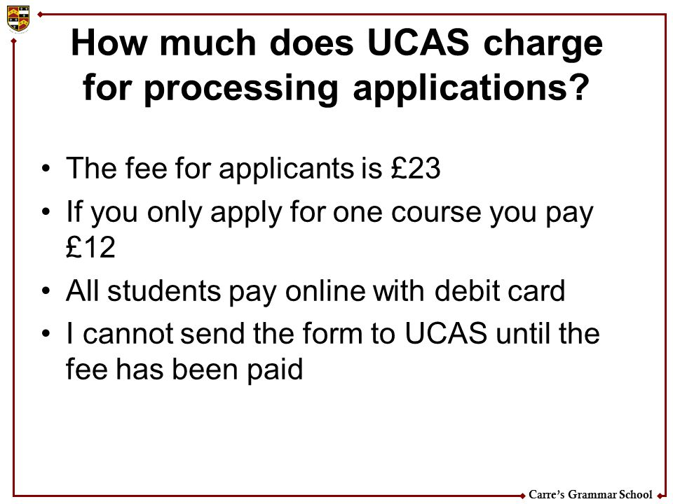How much does UCAS charge for processing applications
