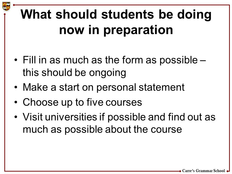 What should students be doing now in preparation