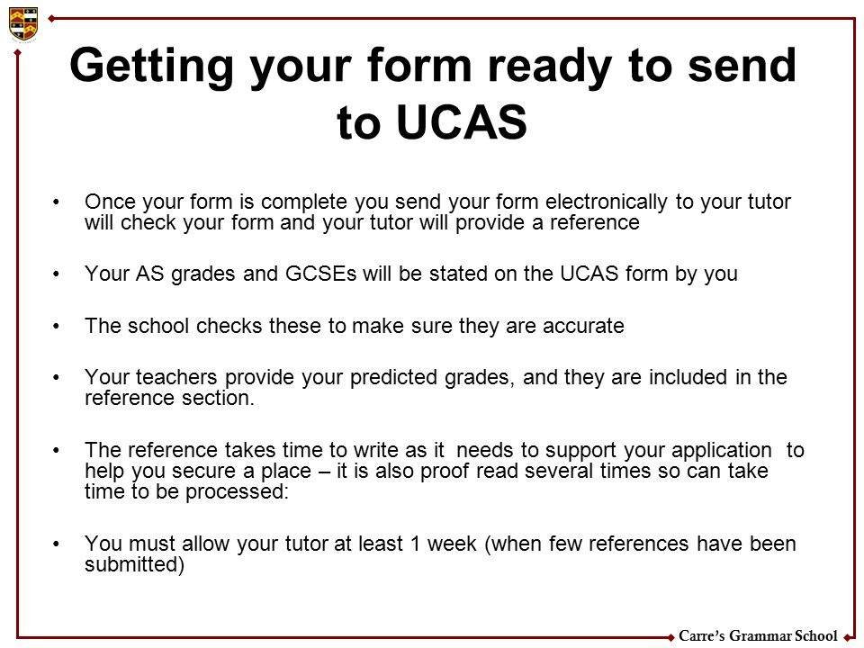 Getting your form ready to send to UCAS