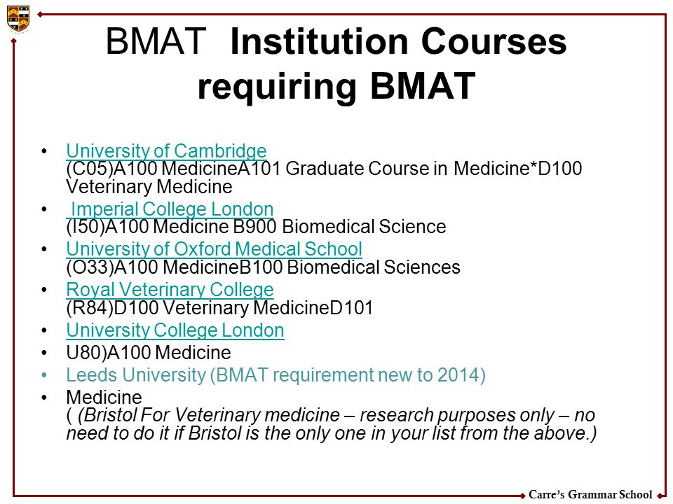 BMAT Institution Courses requiring BMAT