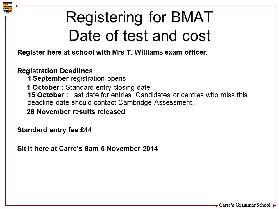 Registering for BMAT Date of test and cost