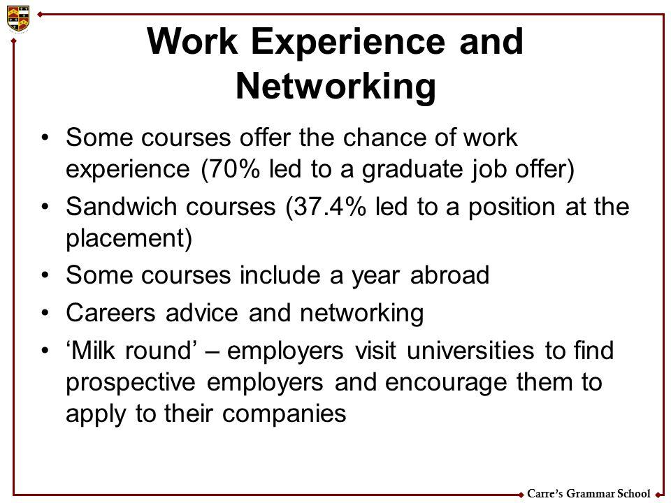Work Experience and Networking